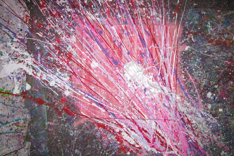 Workshop verf gooien maak een uniek schilderij op een bijzondere manier - Verf een ingang en een gang ...